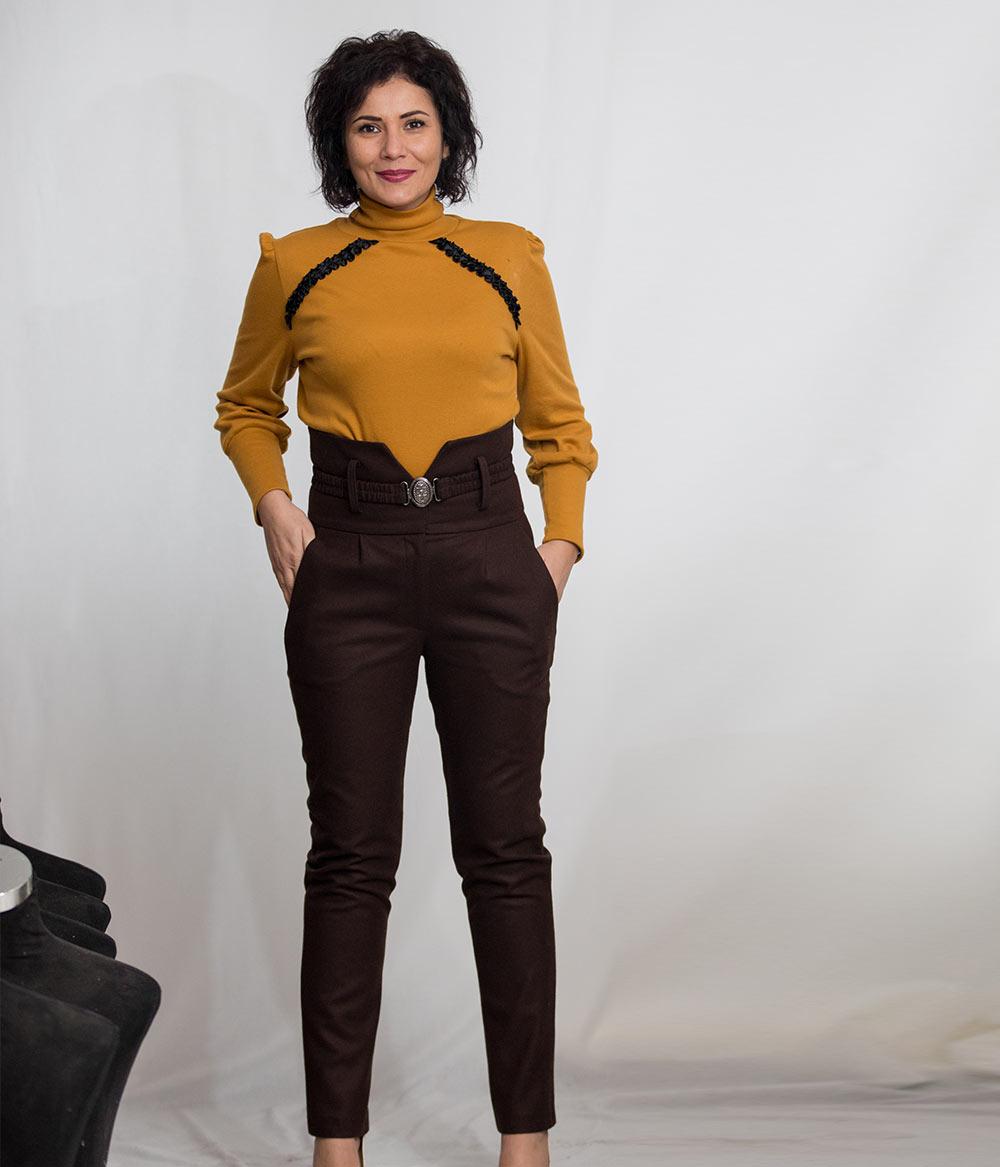 Pantalon-dama-cu-talie-inalta-din-stofa-de-lana-maro-2-Lewo-eb31396f